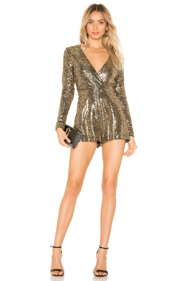 2bc29c02a09 By The Way. Devonne Surplice Romper In Metallic Gold
