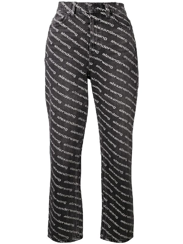 6eb1782210d9b Alexander Wang Bluff High Waist Logo Jeans In Black | ModeSens