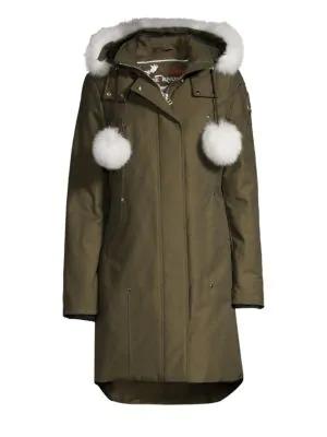 d508758de Stirling Blue Fox Fur-Trim & Pom Pom Down Parka in Army