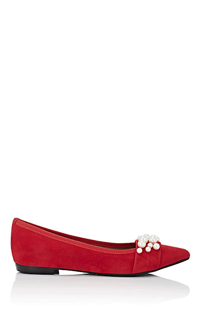 Barneys New York Embellished Suede Flats In Red