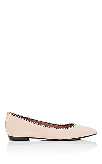 Barneys New York Embellished Suede Ballet Flats In Nudeflesh
