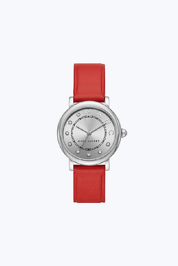 Marc Jacobs Classic Strap 28Mm In Red/Stainless