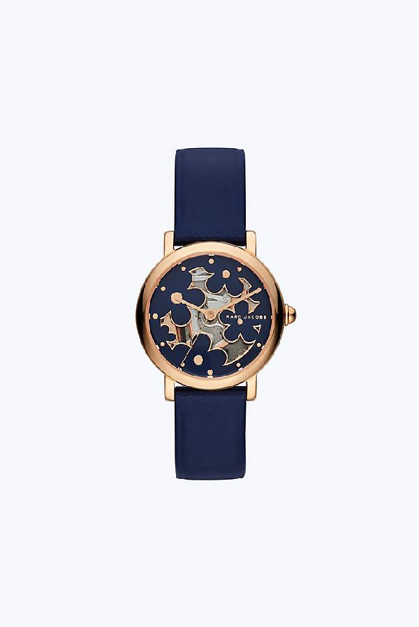 Marc Jacobs Cutout Daisy Classic Watch 28Mm In Navy/Rose Gold