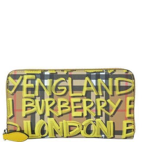47f353180f3 Burberry Graffiti Check Wallet In Yellow | ModeSens