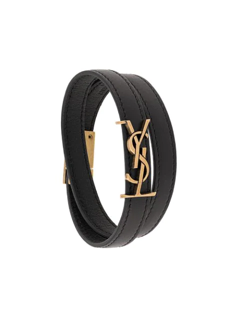 Saint Laurent Opyum Double Wrap Bracelet In Black Patent Leather And Gold-Tone Metal
