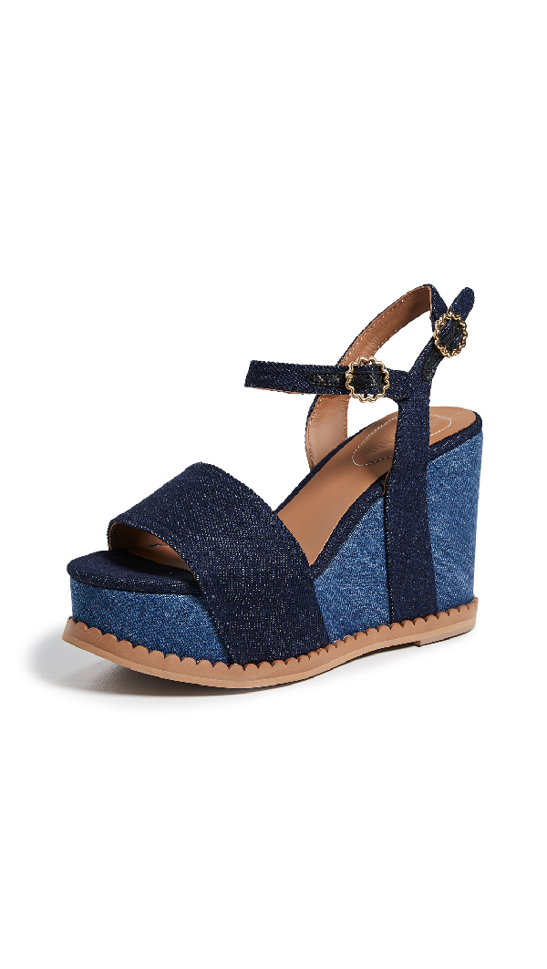 979e17364a2c SEE BY CHLOÉ. See By Chloe Women s Carrie Scalloped Platform Wedge Sandals  in Navy Denim