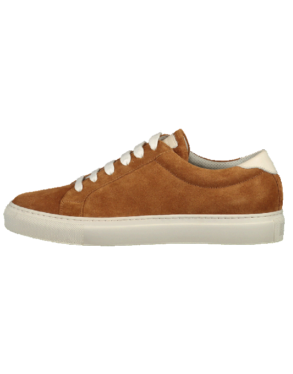 Brunello Cucinelli Suede Sneaker In Rust