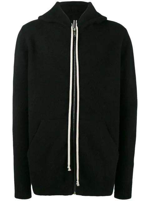 Rick Owens Zip Wool & Yak Knit Sweatshirt Hoodie In Black