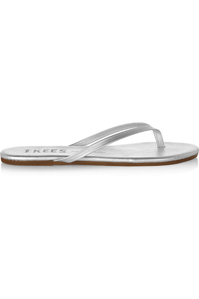5d737d7d3f22 Tkees Lily Metallic Leather Flip Flops In Silver