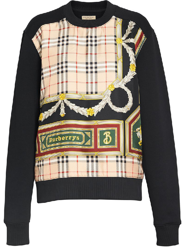 97e927ff7b Burberry Glenmore Archive Scarf Print Panel Sweatshirt In Black ...