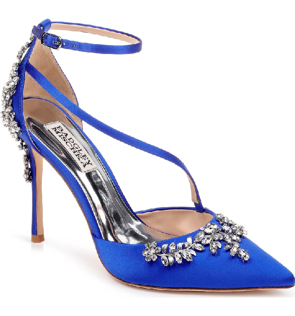 f59398663376 Badgley Mischka Faith Crystal-Embellished Satin Pumps In African Blue Satin