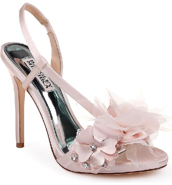 96674448f5bd BADGLEY MISCHKA. Women s Forever Embellished High-Heel Sandals in Light  Pink Satin