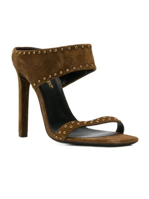 Saint Laurent Mica Studded Suede High-Heel Sandals In 2330 Land/Land