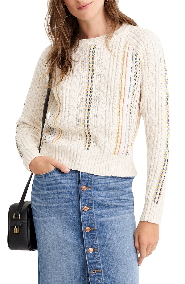 J.Crew Rainbow Cable Knit Sweater In Ivory Multi
