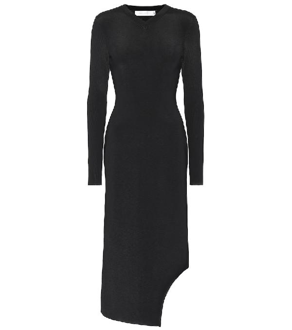 Victoria Beckham Ribbed Knit Midi Dress In Black