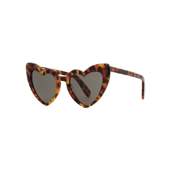 514a9266936ef Saint Laurent Loulou Heart-Shaped Leopard-Print Tortoiseshell Acetate  Sunglasses