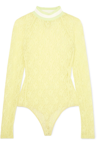 T By Alexander Wang Stretch-Lace Thong Bodysuit In Chartreuse