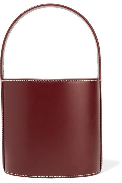 Staud Bissett Leather Bucket Bag In Burgundy