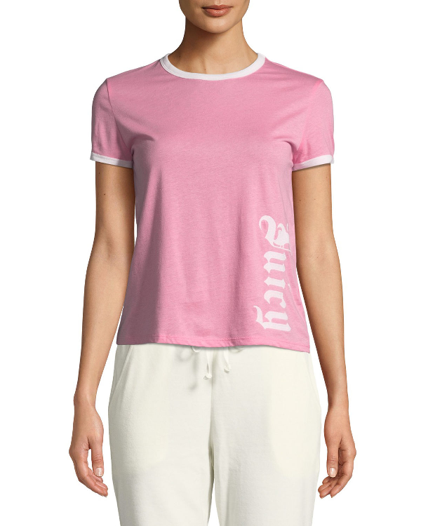 Embroidered Logo Cotton Ringer Tee in Pink
