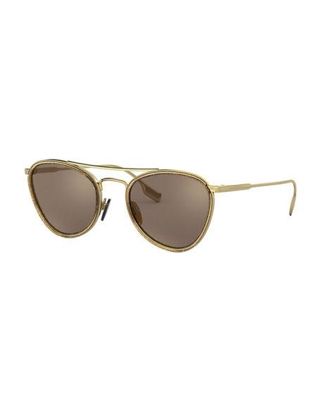 d563799ba800 Burberry Mirrored Glittered Metal Aviator Sunglasses In Light Gold ...