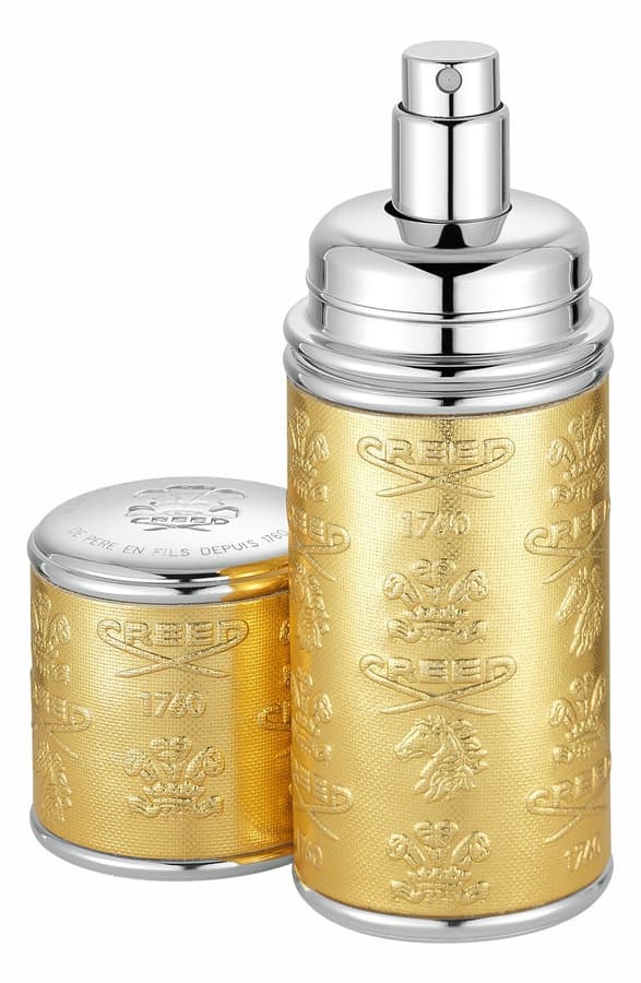 Creed Gold With Silver Trim Leather Atomizer, 0.33 oz