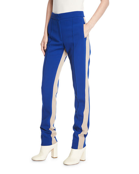 Derek Lam Slim Side-Stripe Straight-Leg Stretch-Cady Pants In Blue