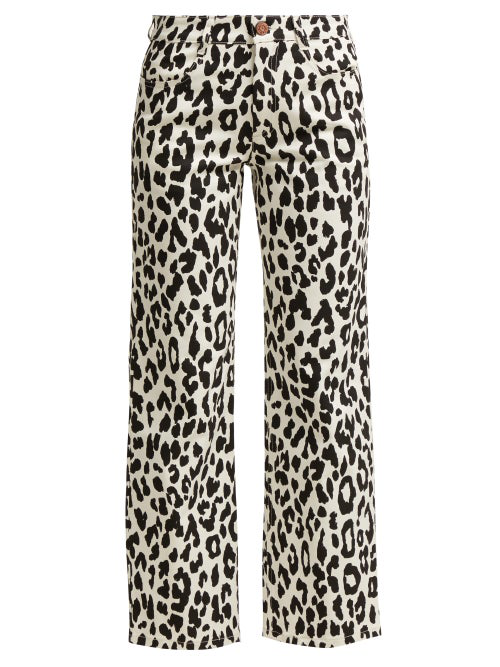 98f6990d8f See By ChloÉ Mid-Rise Cropped Leopard-Print Jeans In Black White ...
