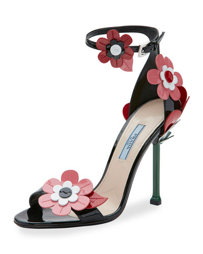 e91b3138ff13 Prada Floral-Embroidered Patent Leather Ankle-Strap Sandals In Nero ...