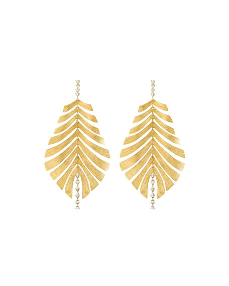 Hueb Bahia 18k Gold Diamond Leaf Drop Earrings