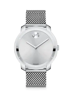 Movado Bold Stainless Steel Mesh Bracelet Watch In Silver