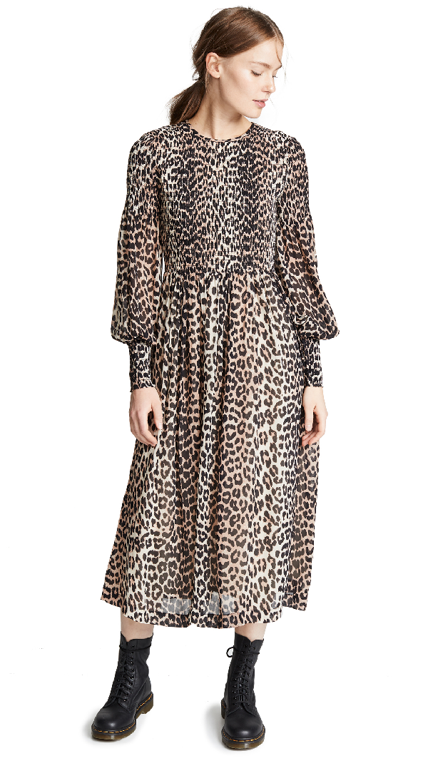 f267bbe887 Ganni Smocked Leopard-Print Georgette Dress