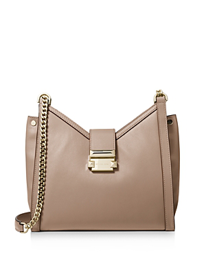8d655639daafa Michael Michael Kors Whitney Small Chain Shoulder Tote In Truffle Brown/Gold
