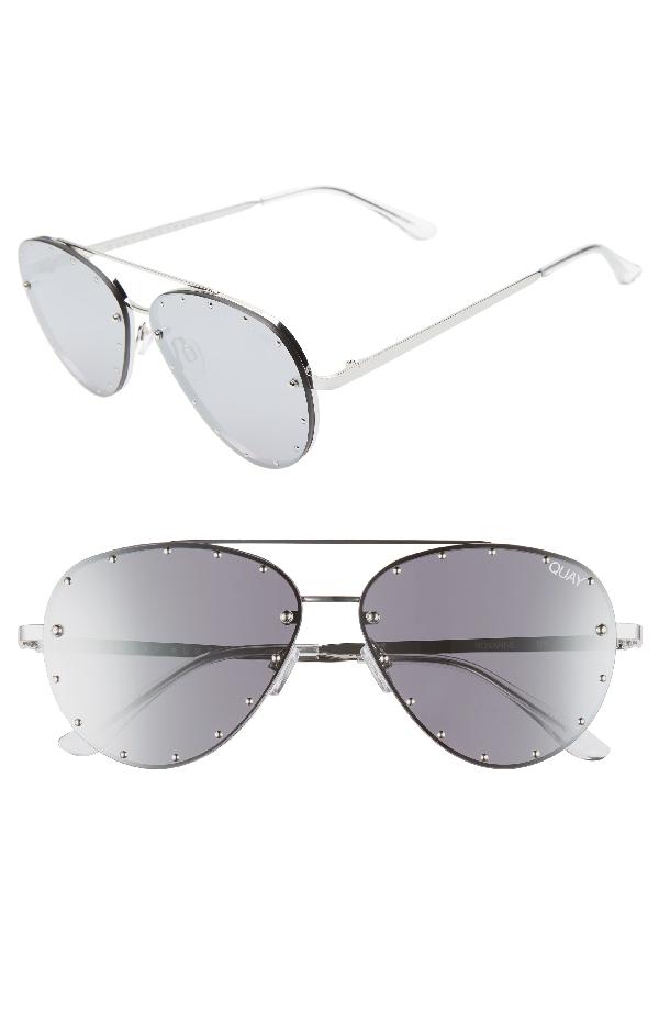 22a92850bedaa Quay X Jaclyn Hill Roxanne 62Mm Stud Aviator Sunglasses - Silver   Silver