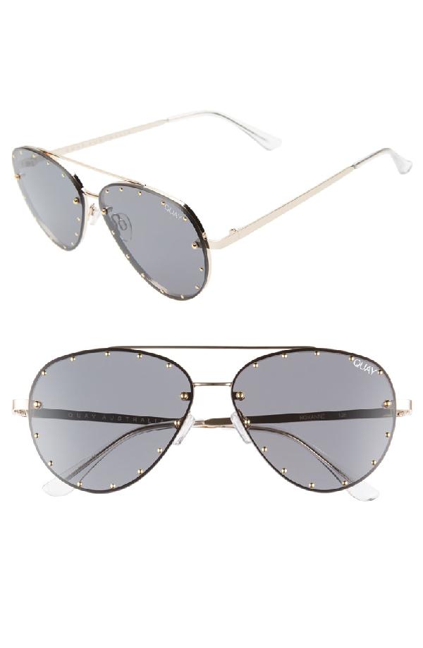 abb4dc3387 Quay X Jaclyn Hill Roxanne 62Mm Stud Aviator Sunglasses - Gold   Smoke