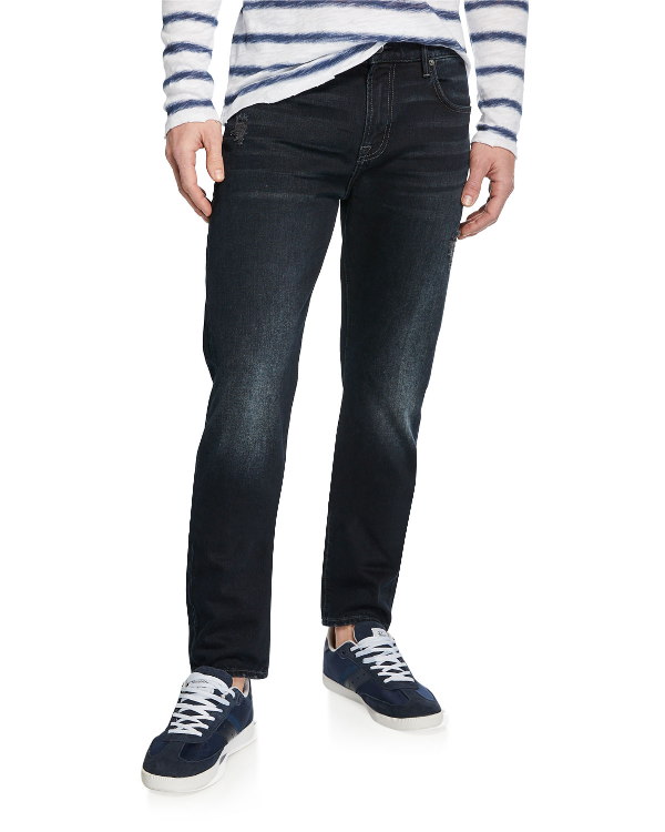 7 For All Mankind Adrien Slim Fit Jeans In Dark Terrain In Black