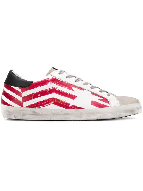 Golden Goose Unisex Superstar Flag Leather Low-Top Sneakers In White