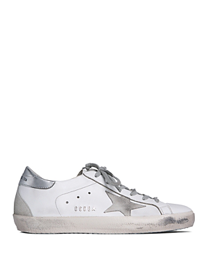 Golden Goose Men's Superstar Leather Low-Top Sneakers In White Silver