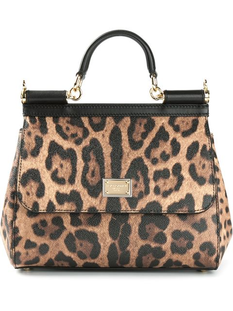 Dolce & Gabbana Woman Sicily Leopard-Print Textured-Leather Shoulder Bag Animal Print In Multicoloured