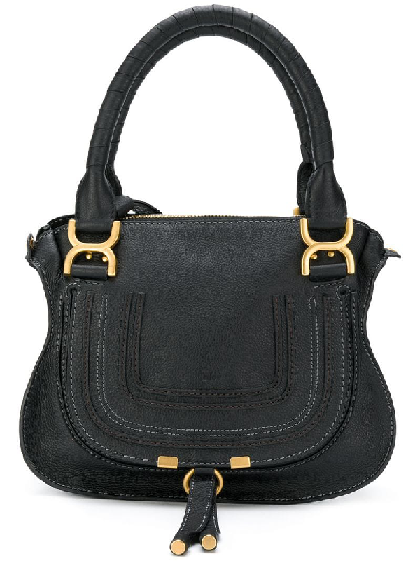 9b6f94085b9 ChloÉ Marcie Medium Textured-Leather Shoulder Bag In Blue   ModeSens