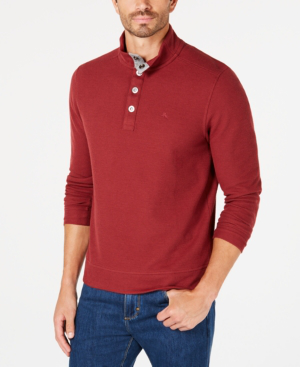 Tommy Bahama Men's Cold Spring Mock Neck Knit, Created For Macy's In Ruby Wine