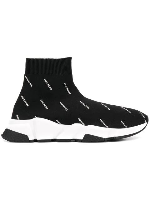 Balenciaga Speed Logo-Print Stretch-Knit High-Top Sneakers In 1006 Noir Blanc