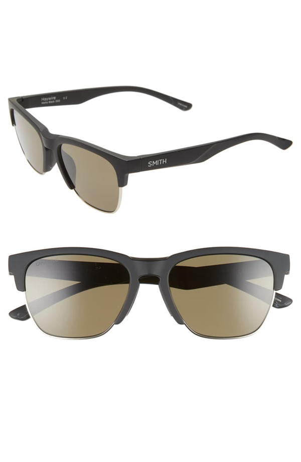 Smith Haywire 55mm Chromapop(tm) Polarized Sunglasses In Matte Black/ Green
