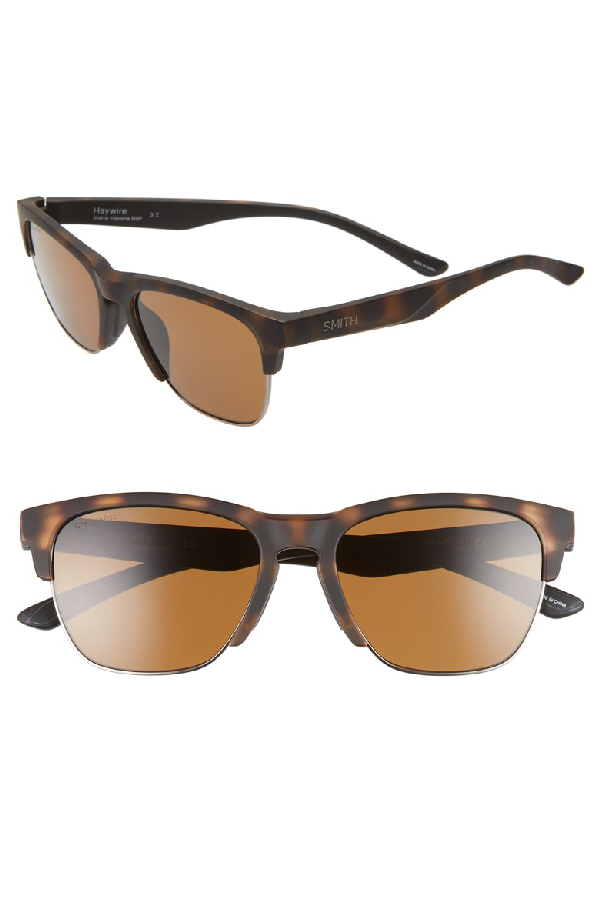 Smith Haywire 55mm Chromapop(tm) Polarized Sunglasses In Matte Havana/ Brown