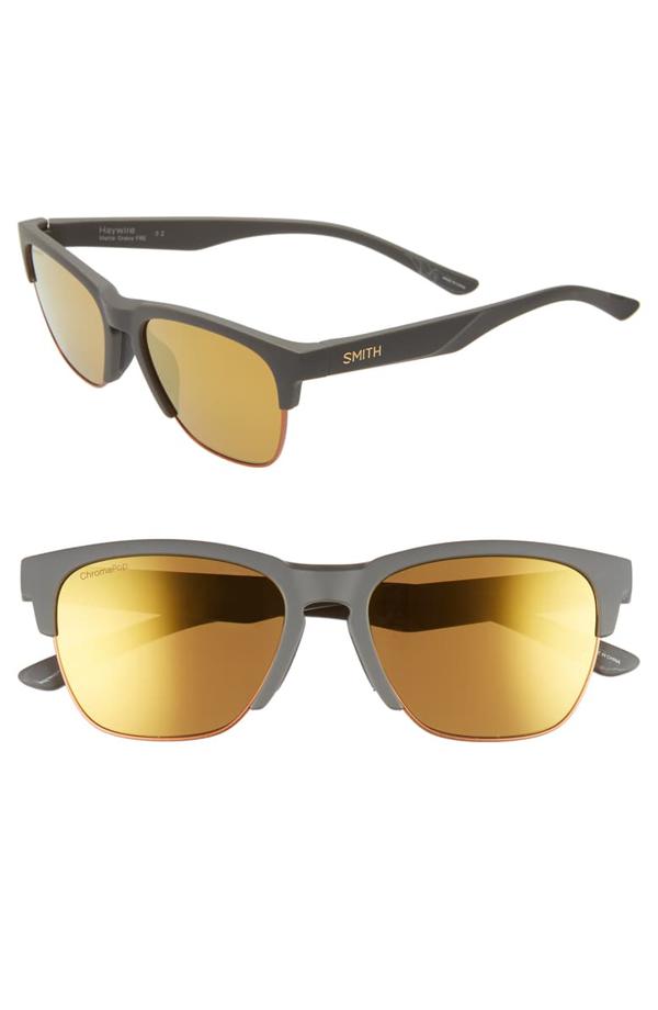 Smith Haywire 55mm Chromapop(tm) Polarized Sunglasses In Matte Grey/ Gravy