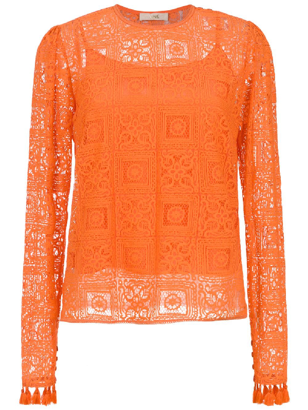 Nk Long Sleeved Lace Top In Orange