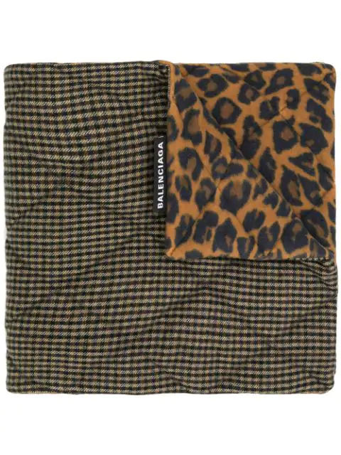 Balenciaga Houndstooth And Leopard Print Scarf - Brown
