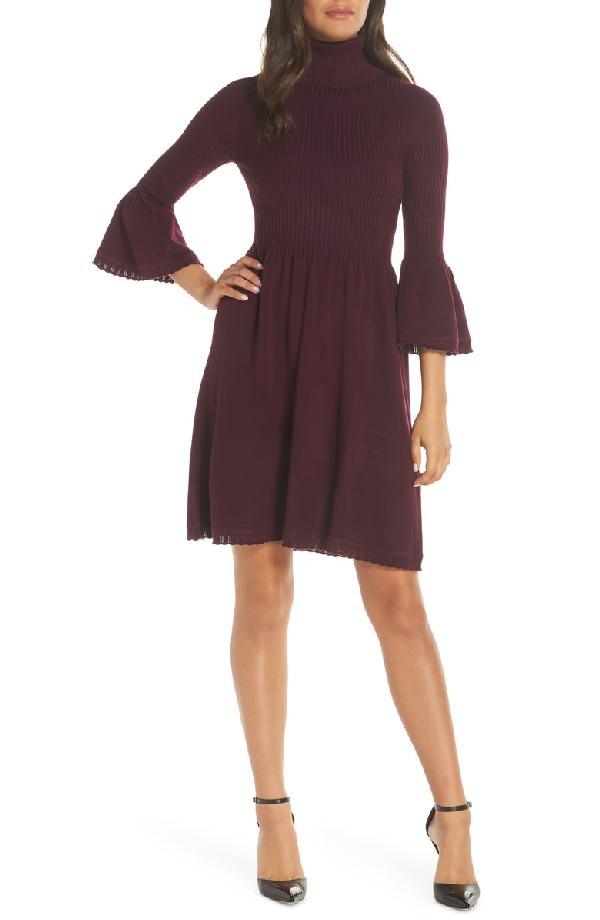 245de9051a9 Eliza J Turtleneck Sweater Dress In Wine