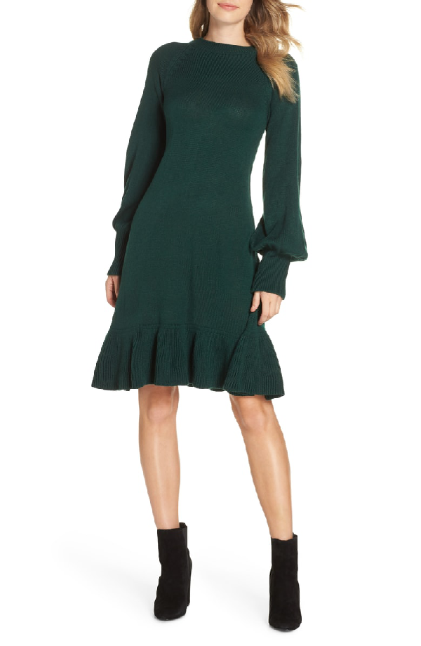 c06e604053c Eliza J Balloon Sleeve Sweater Dress In Green