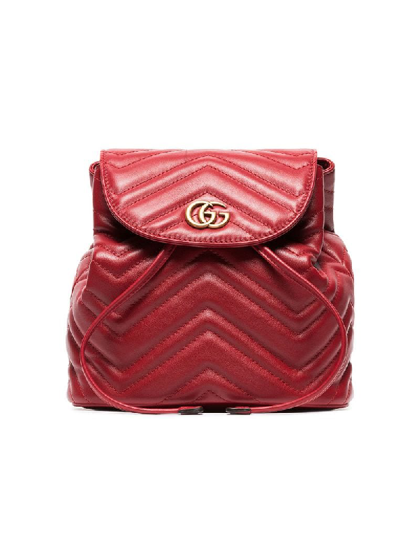 02352e002d4e71 Gucci Gg Marmont 2.0 MatelassÉ Leather Mini Backpack In 6433 Red ...