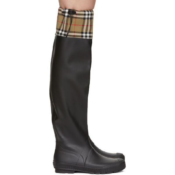 33ceba0977 Burberry Women's Freddie Vintage Check Over-The-Knee Rain Boots In ...